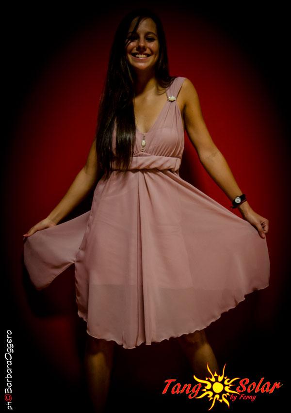 TangoSolar abbigliamento da ballo da sera da cerimonia esclusiva Torino Abito Alisa Chiffon rosa antico con perle e strass