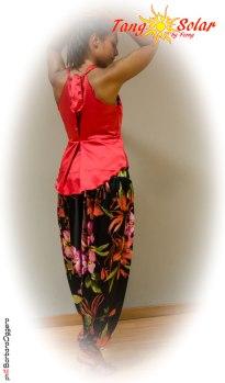 TangoSolar Torino esclusiva abbigliamento Completo Allegria rosso Pantalone in raso fantasia floreale top rosso