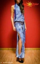 TangoSolar   Tuta Azzurra - Lycra fantasia blu e bianco esclusiva Tango Milonga pantalone con spacco per ballare tango vestiti da sera esclusiva Tangosolar torino