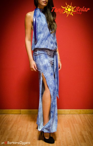 TangoSolar | Tuta Azzurra - Lycra fantasia blu e bianco esclusiva Tango Milonga pantalone con spacco per ballare tango vestiti da sera esclusiva Tangosolar torino