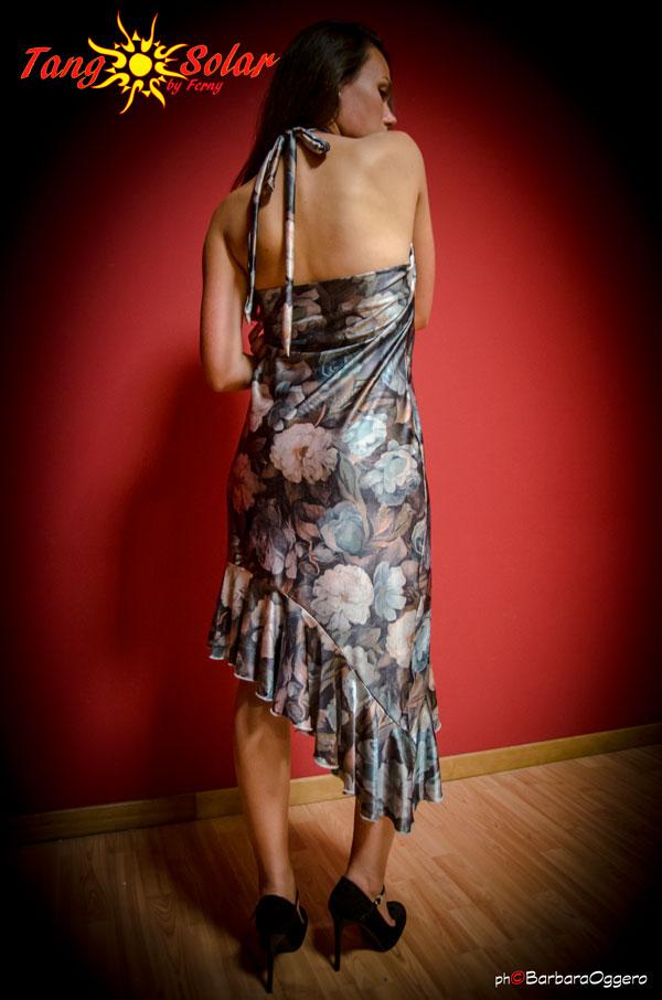 TangoSolar | Abito Anna - Lycra fantasia floreale esclusiva Torino abbigliamento da sera da cerimonia
