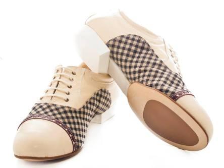 Tangosolar Torino esclusiva bicolore scarpe ballo danza uomo tacco francese Regina Tango Shoes Modello Paolo Punta in pelle Beige e tessuto scosseze suola in gaucho spezzato