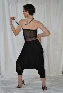 Ineditotango Torino abbigliamento Tangosolar tempo libero da ballo danza Tuta Adele vari colori Jersey elasticizzato con schiena in tulle pantaloni alla turca nero