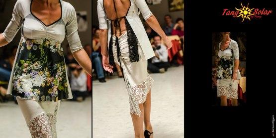 Regina Tango Shoes Wear scarpe abbigliamento Torino Tangosolar vestiti da sera cerimonia tempo libero Top E Gonna Bacio di Dama Jersey elasticizzato stampato con bordo in pizzo e coda arricciata e fiocchetti per varie interpretazioni