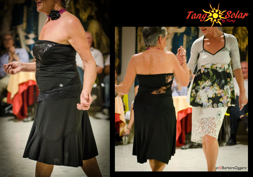 Regina Tango Wear abbigliamento da ballo da sera tempo libero Torino esclusiva Tangosolar Top Amaretto colore nero jersey modellato sul corpo con effetto trasparente e paillettes Gonna nera