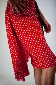Regina Tango Wear Gonna Cannolo Lycra pois rosso abbigliamento tango tempo libero da sera Torino esclusiva Tangosolar