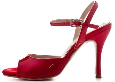 Tangosolar Torino negozio abbigliamento scarpe accessori tango e oltre esclusiva Torino Regina Tango Shoes | Modello Nizza color rosso (vernice, tallone aperto) - Tacco: 9 cm - Pianta: Normale - Suola: Cuoio