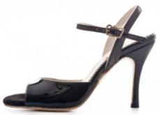 Tangosolar Torino negozio esclusiva Regina Tango Shoes |Modello Nizza colore nero (vernice, tallone aperto) - Tacco: 9 cm - Pianta: Normale - Suola: Cuoio