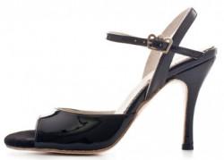 Tangosolar Torino negozio esclusiva Regina Tango Shoes  Modello Nizza colore nero (vernice, tallone aperto) - Tacco: 9 cm - Pianta: Normale - Suola: Cuoio