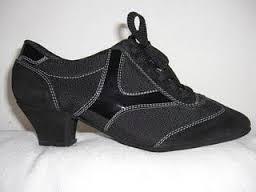 Torino esclusiva Tangosolar scarpe da ballo danza Regina Tango Shoes Modello Ntrj 10 Scarpa Pratica Camoscio nero, tela nero e 'Y' in vernice nero tacchettino 4,5cm