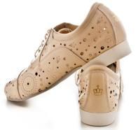 Tangosolar esclusiva Torino Regina Tango Shoes | Modello Paolo - Pelle Laserata, fresca e traspirante, morbidissima con suola in bufalo - Colore: Beige - Tacco: 2,5 cm