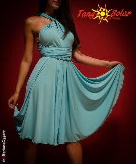 TangoSolar esclusivo Torino vestiti da sera abbigliamento tango milonga Abito Andrea Lycra verde acqua con diverse vestibilità