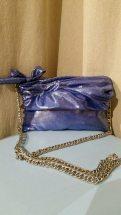 TangoSolar Accessori Pochette blue lamé da sera tracolla in catena moda prezioso