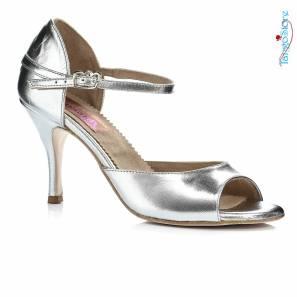 Regina Tango Shoes scarpa da ballo Modello Nizza Pelle color argento Tangosolar Torino tacco 7 cm