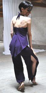 Ineditotango Top lungo Artemide e Pantalone spacco Amaranto abiti da Tango milonga esclusivo Tangosolar Torino