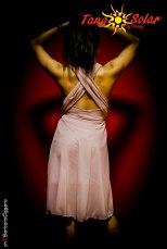 Tangosolar Abito Alisa lycra tulle rosa incrocio schiena Torino abiti da sera abiti da ballo moda giovane tango milonga Torino esclusiva abito unico