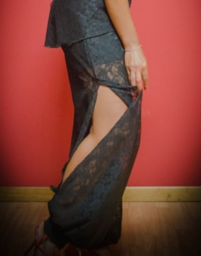 Tangosolar Pantalone Anthony pizzo nero abbigliamento esclusivo per il ballo per la sera Torino