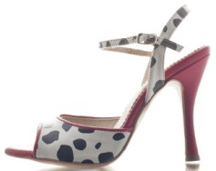 Regina Tango Shoes modello Nizza pois rosso tacco 10 cm 8 cm ballare tango milonga esclusiva Torino Tangosolar pelle