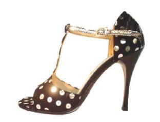 Regina Tango Shoes modello Recoleta zapatos scarpe a pois tacco 10 centimetri tacco stiletto ballare coi tacchi alti tango milonga vals esclusiva TangoSolar Torino