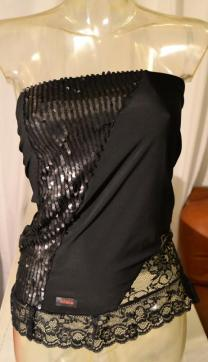 Regina Tango wear abiti da ballo abiti da tango milonga strass pizzo nero lycro esclusiva Torino TangoSolar Top Amaretto