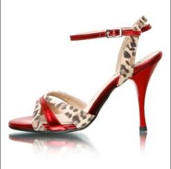 Regina Tango Shoes modello Eva scarpa rosso e maculato scarpe col tacco alto ballare tango milonga Tangosolar