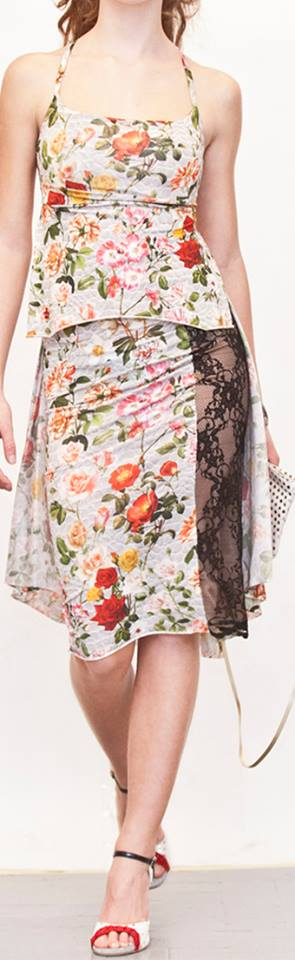 Regina Tango wear top gonna Completo Ghiacciolo fantasia lycra pizzo nero Tangosolar esclusiva Torino