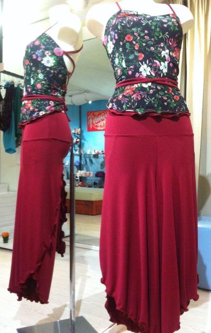 Tangosolar Completo Amarena gonna pantalone e top fiori abiti tango abiti ballo
