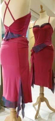 Ineditotango completo rosso e cangiante Tangosolar top gonna spacco rosso viola cangiante ballare abiti ballo