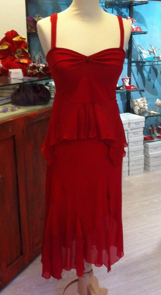 Ineditotango completo rosso top gonna tango abiti completi ballare