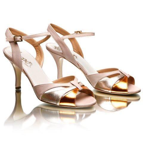 Regina Tango Shoes scarpe da donna col tacco alto da tango da ballo dorate argentate tallone scoperto per ballare col fiocco pelle Torino TangoSolar esclusiva