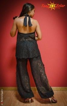 TangoSolar completo pantalone top nero pizzo da ballo da sera da cerimonia esclusiva Torino
