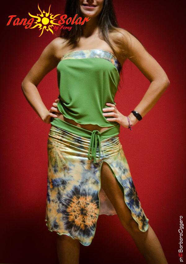 TangoSolar completo gonna fantasia top verde negozio Torino esclusiva Tango vestiti da sera tempo libero cerimonia