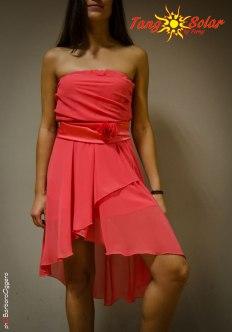 TangoSolar Abito corallo rosso senza spalline negozio Torino esclusiva Tango vestiti da sera tempo libero cerimonia