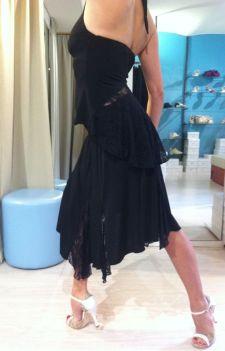 Completo Ambra nero con inserti pizzo nero Ineditotango TangoSolar Torino negozio abbigliamento Tango da sera da cerimonia esclusiva abito