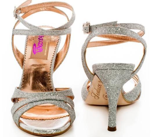 Regina Tango Shoes Mod. Olivia twins Glitter argento scarpe da Tango da sera coi tacchi alti