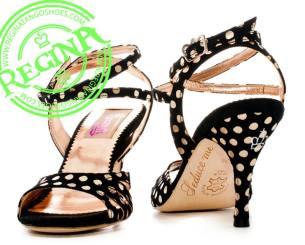 Regina Tango Shoes Modello Lolita Nero pois oro scarpe da Tango da sera coi tacchi alti