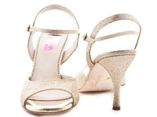 Regina Tango Shoes Modello Nizza Glitter platino scarpe da Tango da sera coi tacchi alti