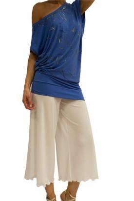 Top Sunshine bluette dipinta a mano negozio abbigliamento torino tangosolar