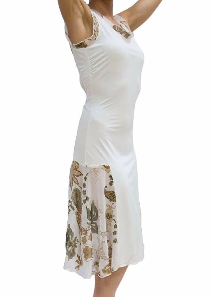 tangosolar Abito bianco con inserti voile Abbigliamento tango da sera da cerimonia esclusiva a Torino Aldobaraldo