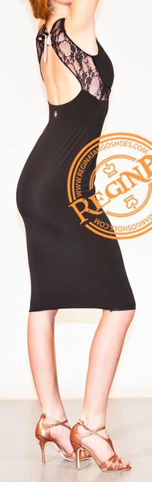 Regina Tango Wear abito nero pizzo longuette negozio torino esclusiva tango milonga