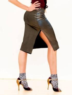 Regina Tango Shoes Wear gonna longuette lamè bronzo ballare tango tempo libero da sera aldobaraldo milonga negozio
