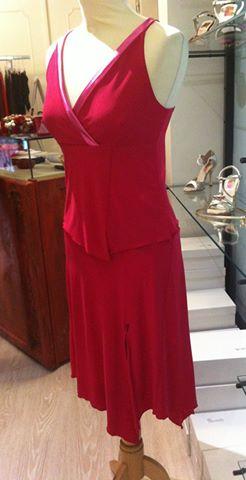 ineditotango completo rosso con profili tangosolar abiti abbigliamento donna tango da sera eventi