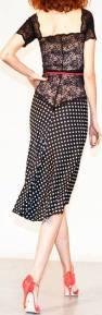 regina tango shoes wear completo nero bianco pizzo pois abbigliamento di classe tangosolar torino