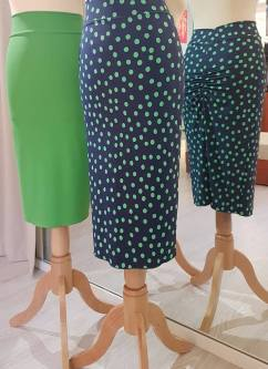 tangosolar gonna longuette verde blu pois milonga torino abbigliamento donna esclusiva