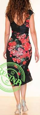 regina tango shoes wear abito nero fiori rossi dietro esclusiva torino tangosolar