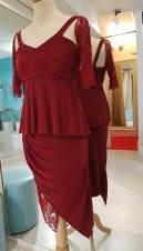 ineditotango abito completo top gonna rosso scuro pizzo maniche ineditotango esclusiva torino negozio abbigliamento