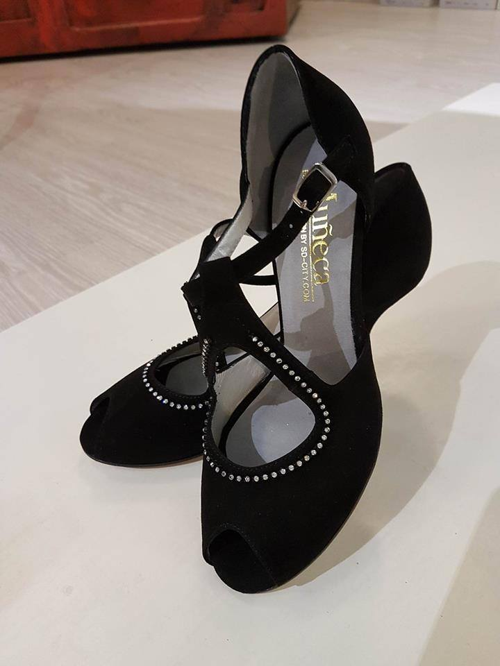 tangosolar scarpe balli sala nero strass comode made in italy torino