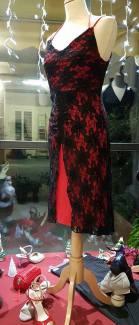 tangosolar-ineditotango-abito-rosso-pizzo-nero-spacco gonna lunga