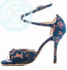 regina tango shoes tangosolar torino tessuto blu fiori farfalle