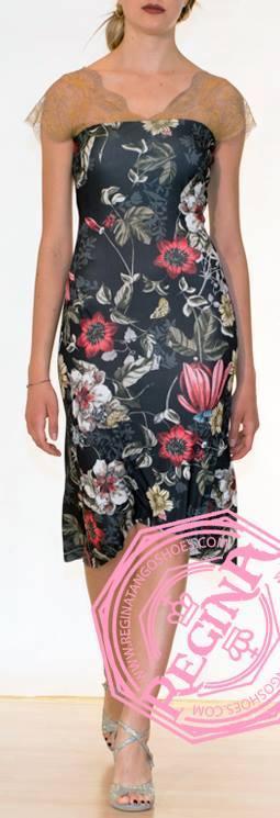 regina tango shoes vestito fantasia floreale monospalla